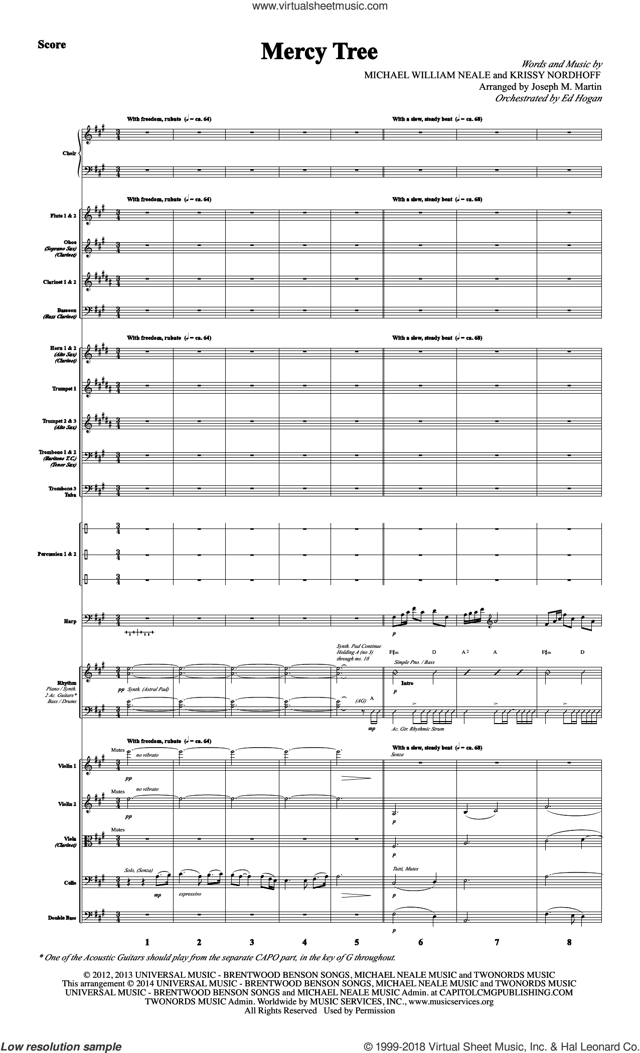 Mercy Tree (COMPLETE) sheet music for orchestra/band by Joseph Martin, Joseph M. Martin, Krissy Nordhoff, Lacey Sturm and Michael William Neale, intermediate. Score Image Preview.