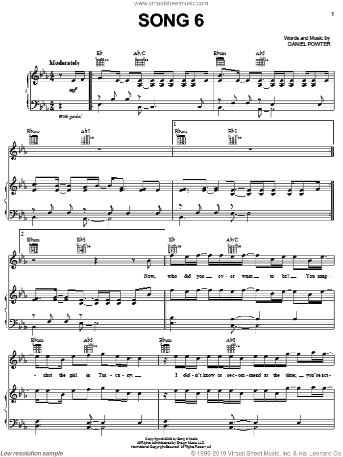 Song 6 sheet music for voice, piano or guitar by Daniel Powter. Score Image Preview.