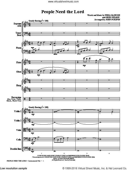 People Need The Lord (COMPLETE) sheet music for orchestra by Greg Nelson, John Purifoy, Phill McHugh and Steve Green. Score Image Preview.