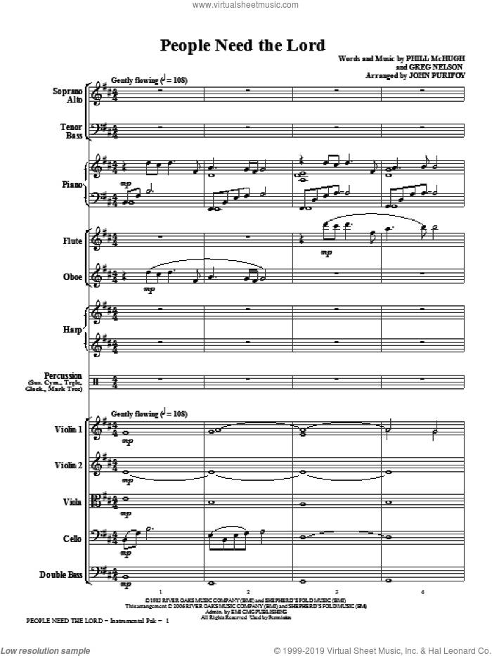 People Need The Lord (complete set of parts) sheet music for orchestra/band (chamber ensemble) by Phill McHugh, Greg Nelson, John Purifoy and Steve Green, intermediate skill level