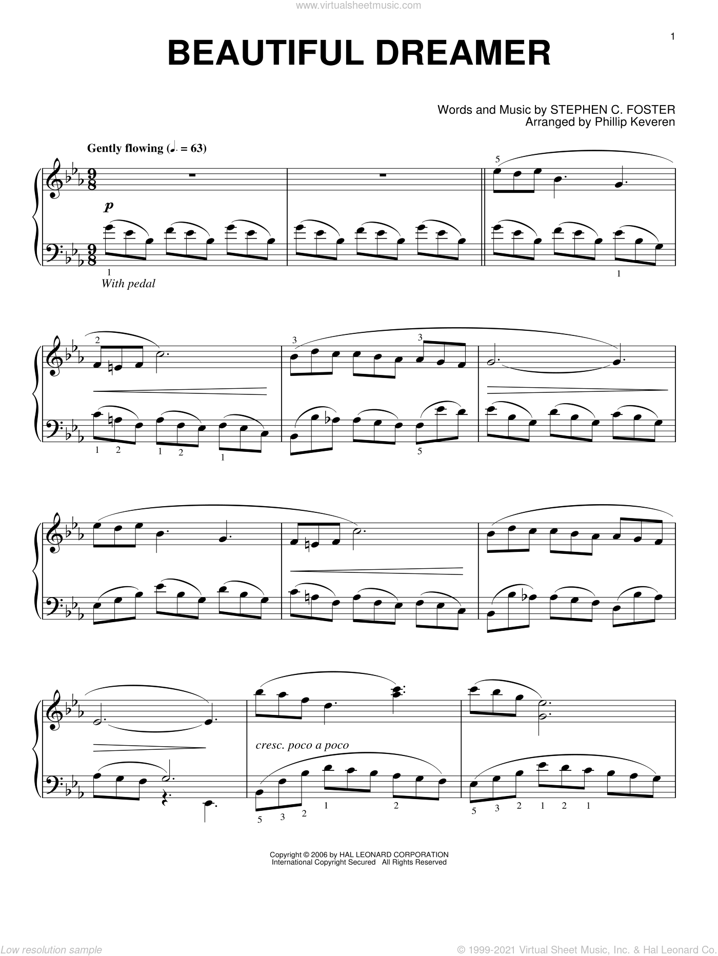 Beautiful Dreamer sheet music for piano solo by Stephen Foster and Phillip Keveren, intermediate skill level