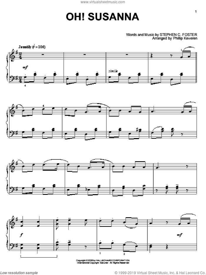 Oh! Susanna, (intermediate) sheet music for piano solo by Stephen Foster and Phillip Keveren, intermediate skill level