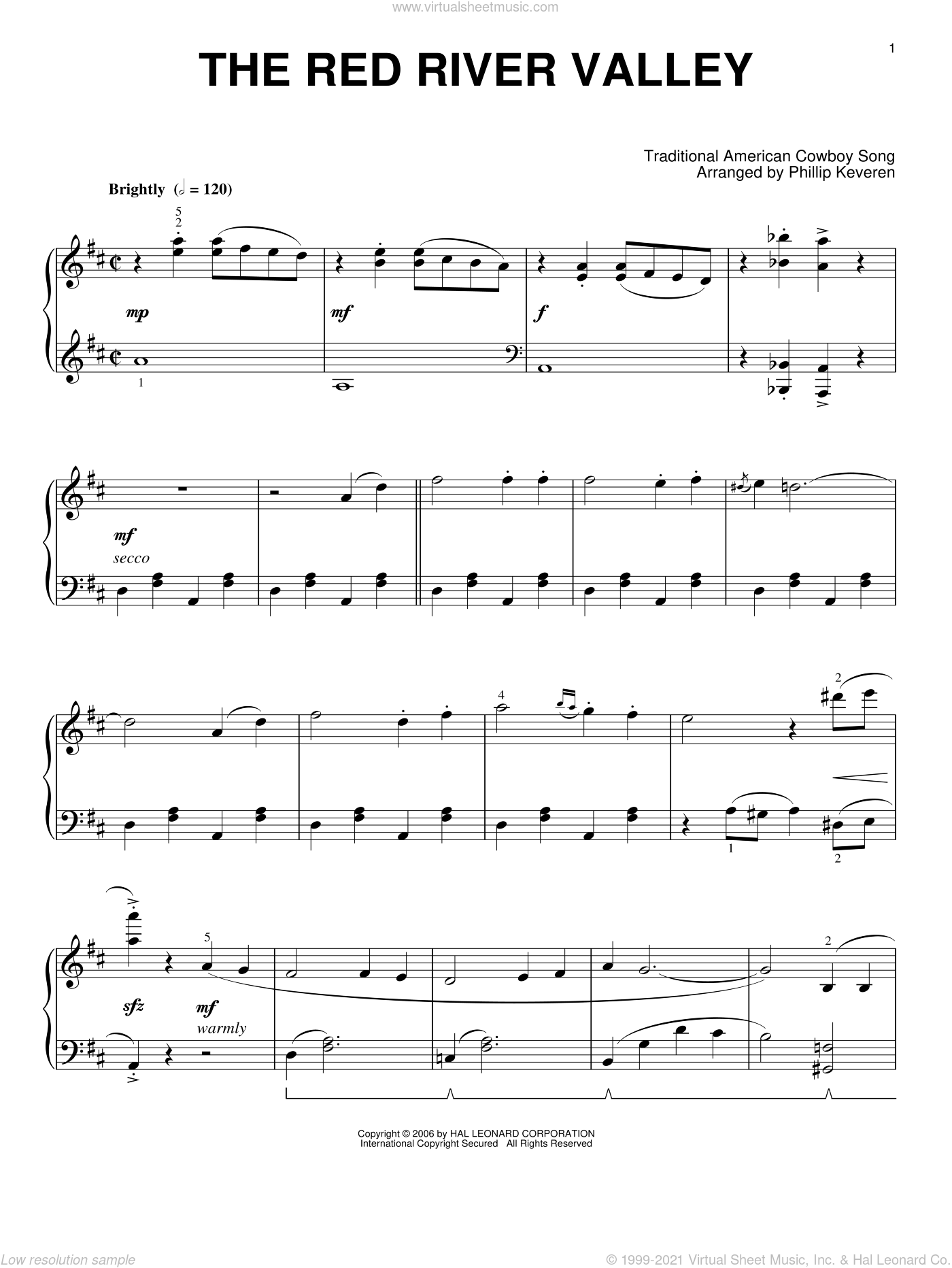 The Red River Valley sheet music for piano solo  and Phillip Keveren. Score Image Preview.