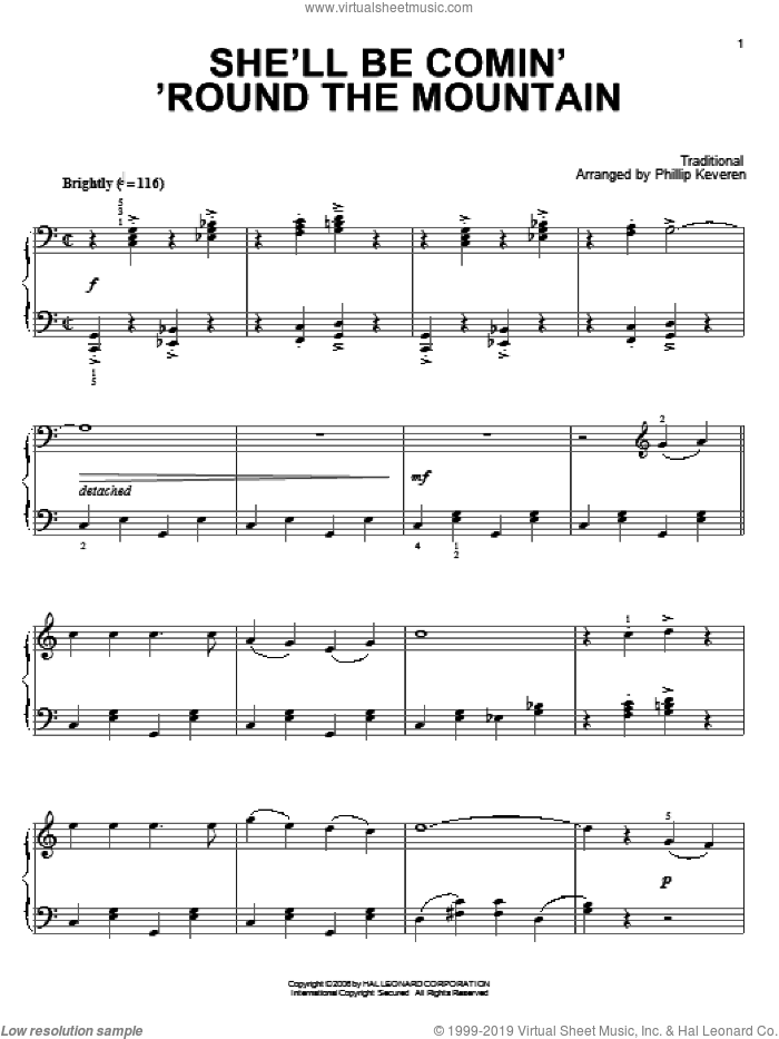 She'll Be Comin' 'Round The Mountain sheet music for piano solo  and Phillip Keveren. Score Image Preview.