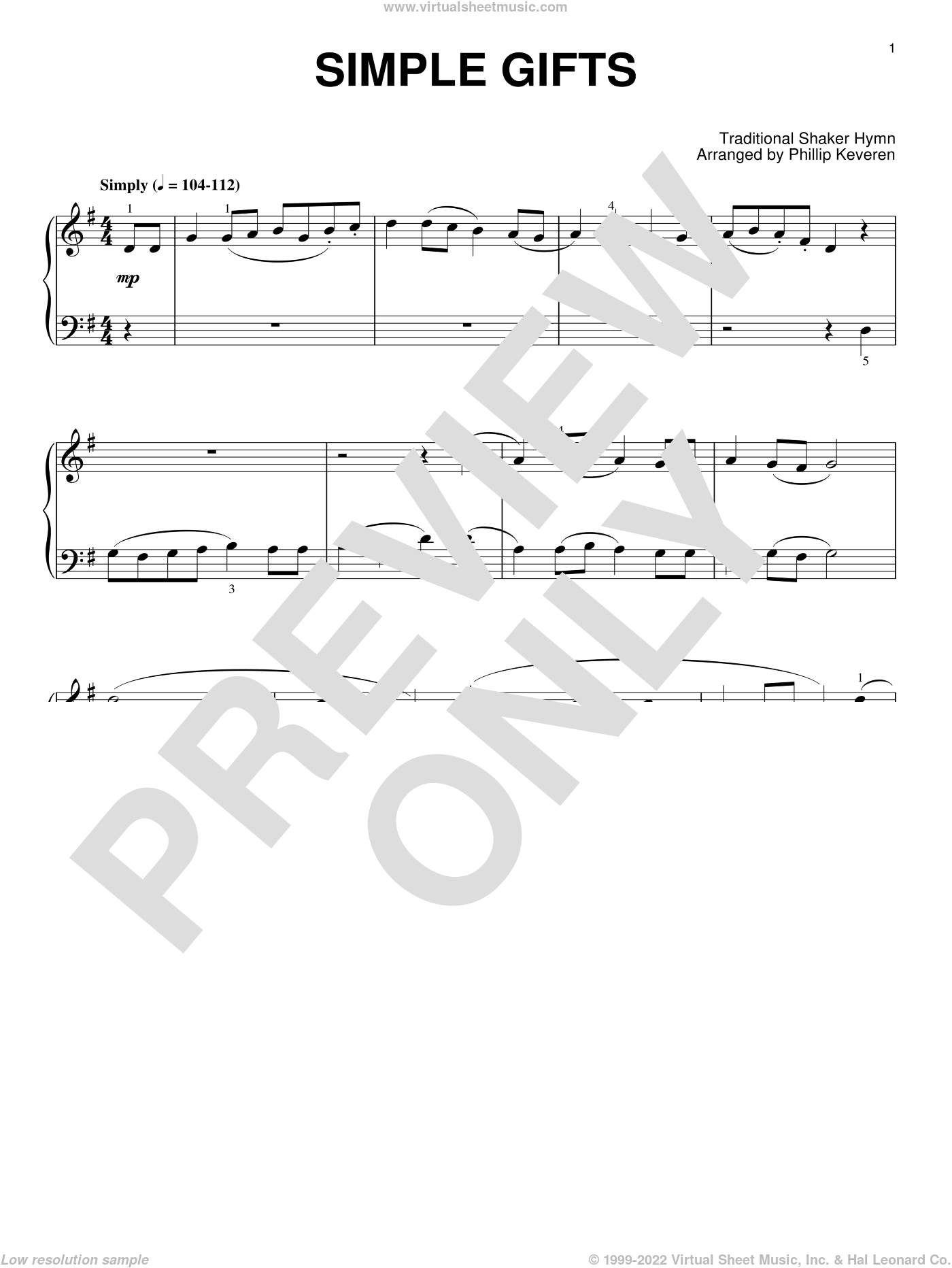 Simple Gifts, (intermediate) sheet music for piano solo  and Phillip Keveren, intermediate skill level