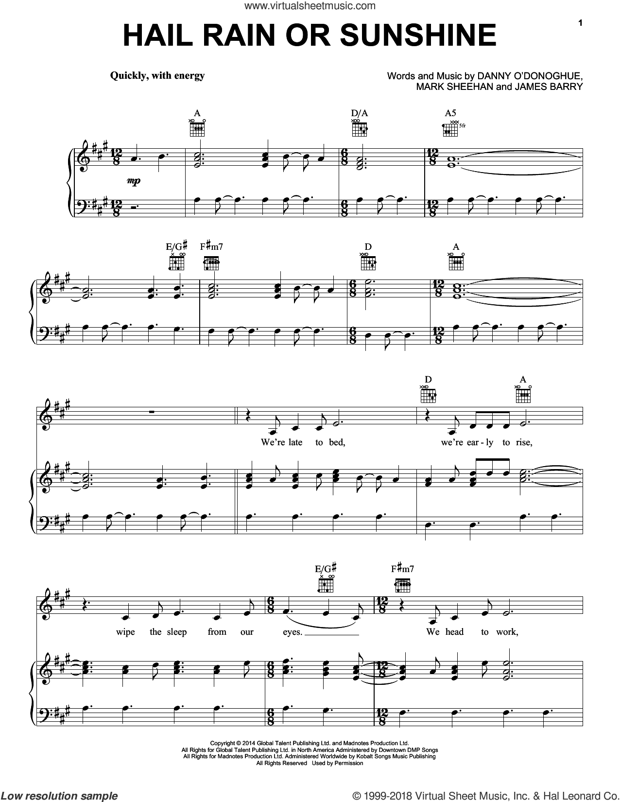 Hail Rain Or Sunshine sheet music for voice, piano or guitar by The Script, James Barry and Mark Sheehan, intermediate skill level