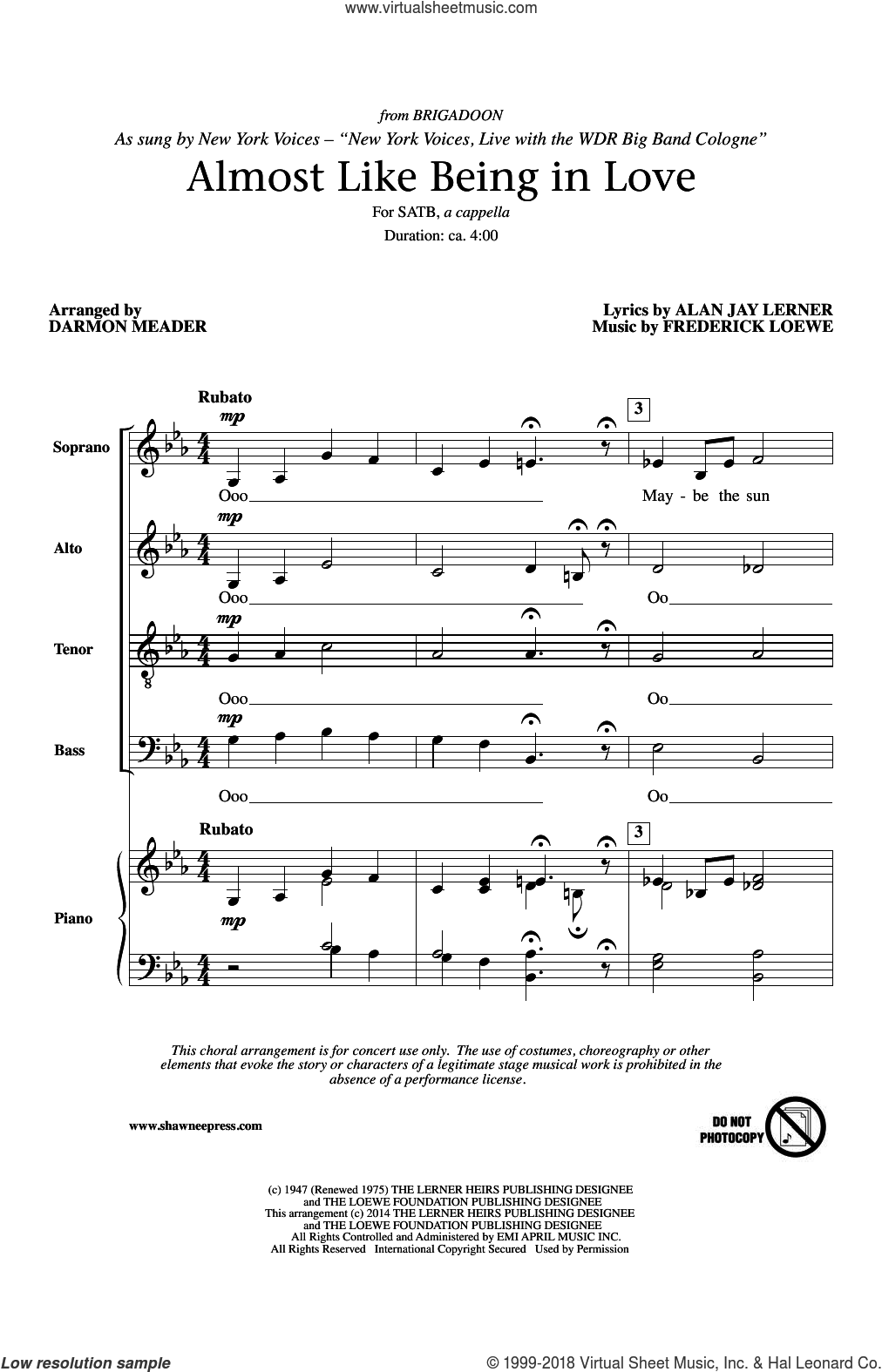 Almost Like Being In Love sheet music for choir and piano (SATB) by Darmon Meader, Gene Kelly, Alan Jay Lerner and Frederick Loewe. Score Image Preview.