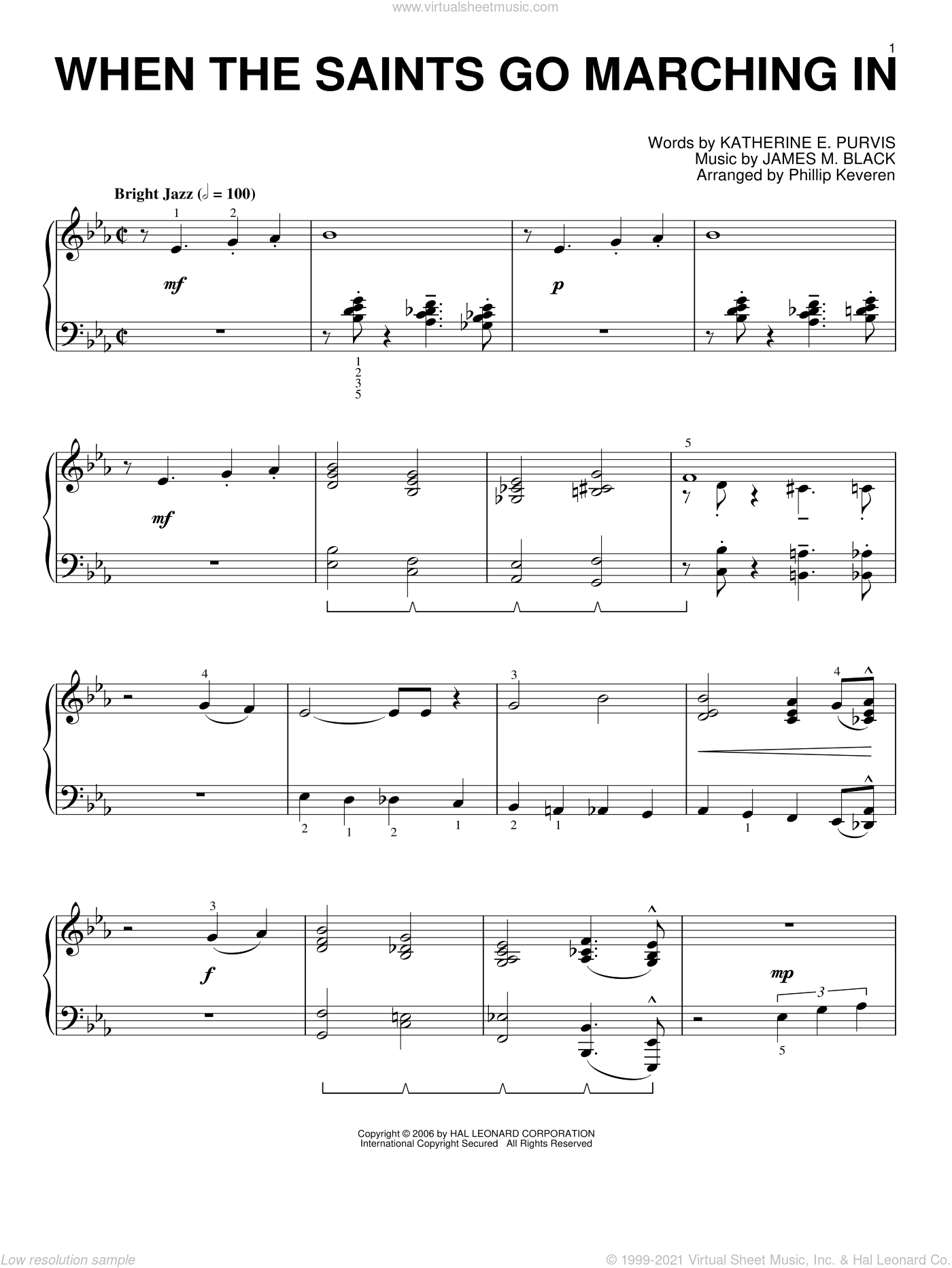 When The Saints Go Marching In sheet music for piano solo by Katherine E. Purvis, Phillip Keveren, Louis Armstrong and James M. Black. Score Image Preview.