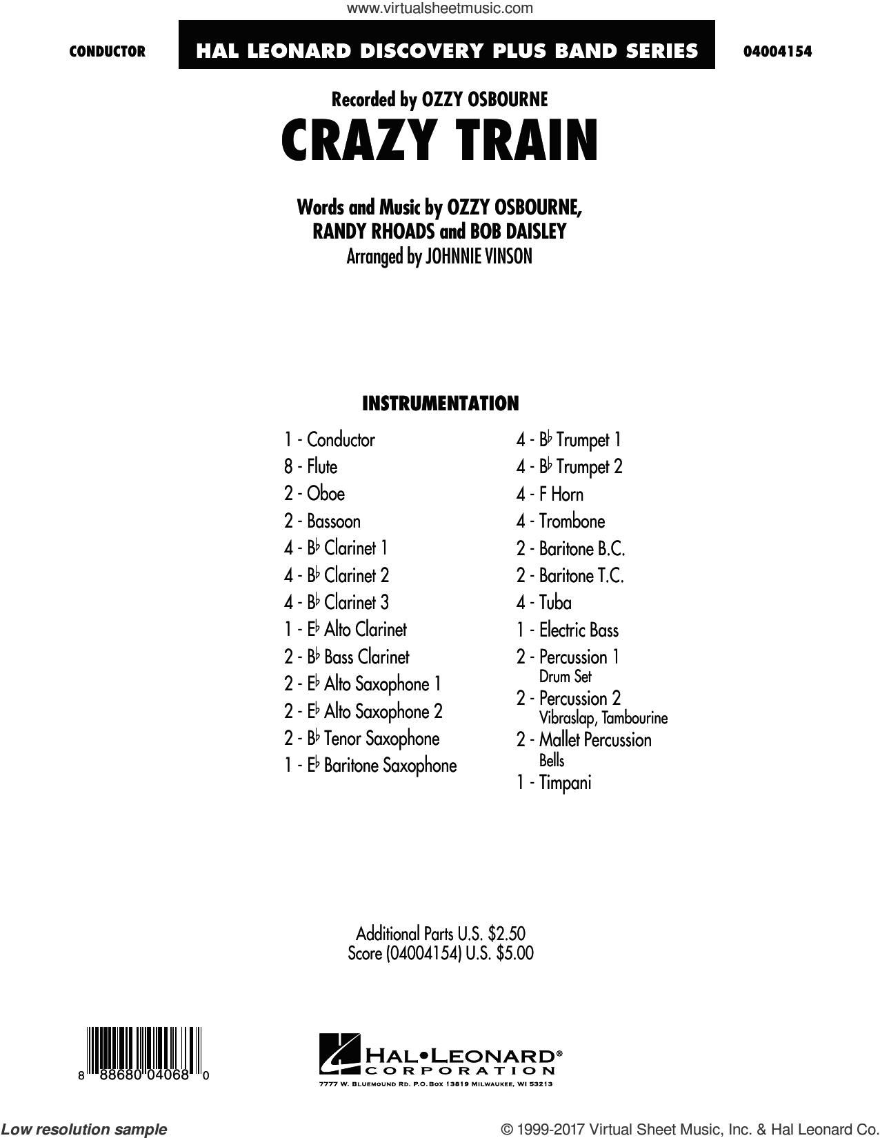Crazy Train (COMPLETE) sheet music for concert band by Johnnie Vinson, Bob Daisley, Ozzy Osbourne and Randy Rhoads, intermediate skill level