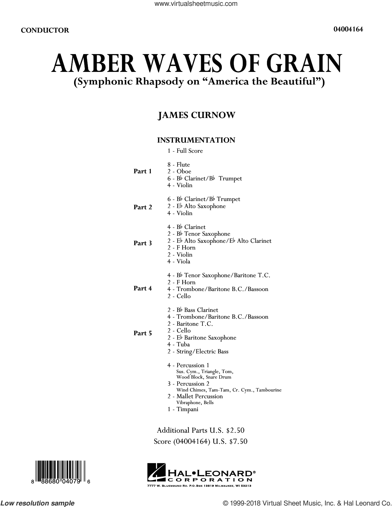 Amber Waves of Grain (COMPLETE) sheet music for concert band by James Curnow, intermediate skill level