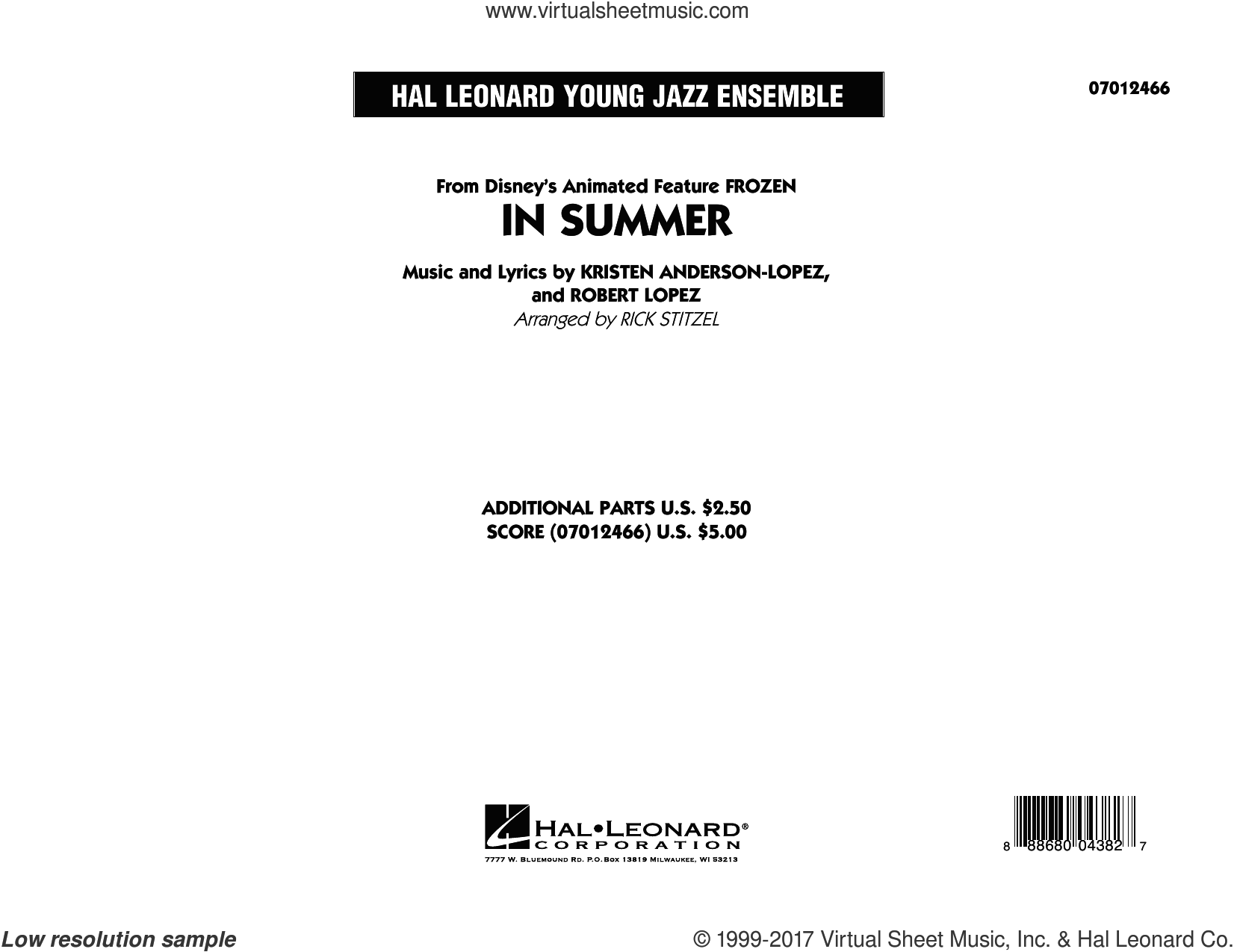 In Summer (from Frozen) (COMPLETE) sheet music for jazz band by Robert Lopez, Kristen Anderson-Lopez and Rick Stitzel, intermediate skill level