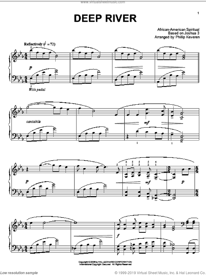 Deep River sheet music for piano solo  and Phillip Keveren, intermediate skill level