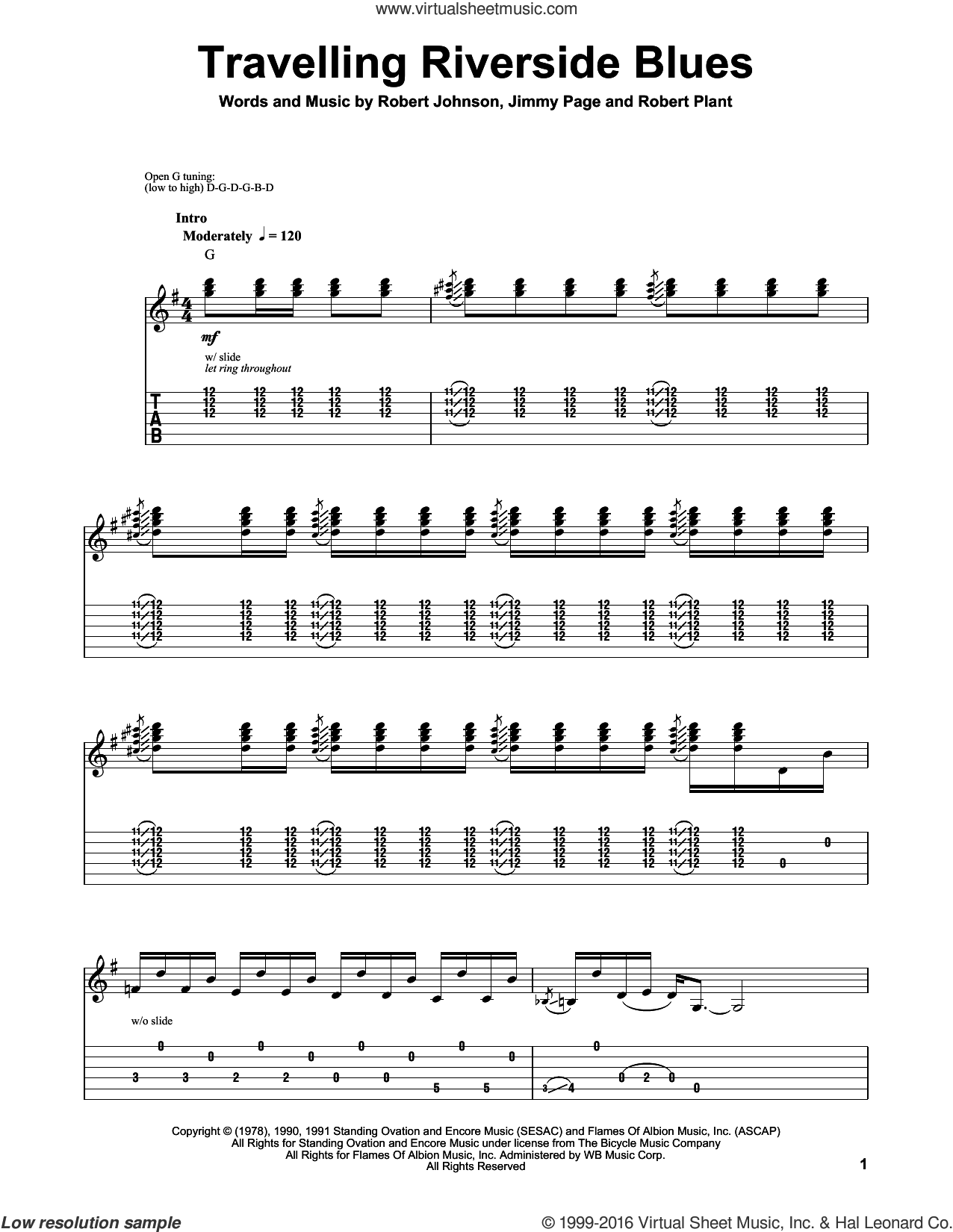 Travelling Riverside Blues sheet music for guitar (tablature, play-along) by Robert Plant, Led Zeppelin, Jimmy Page and Robert Johnson. Score Image Preview.