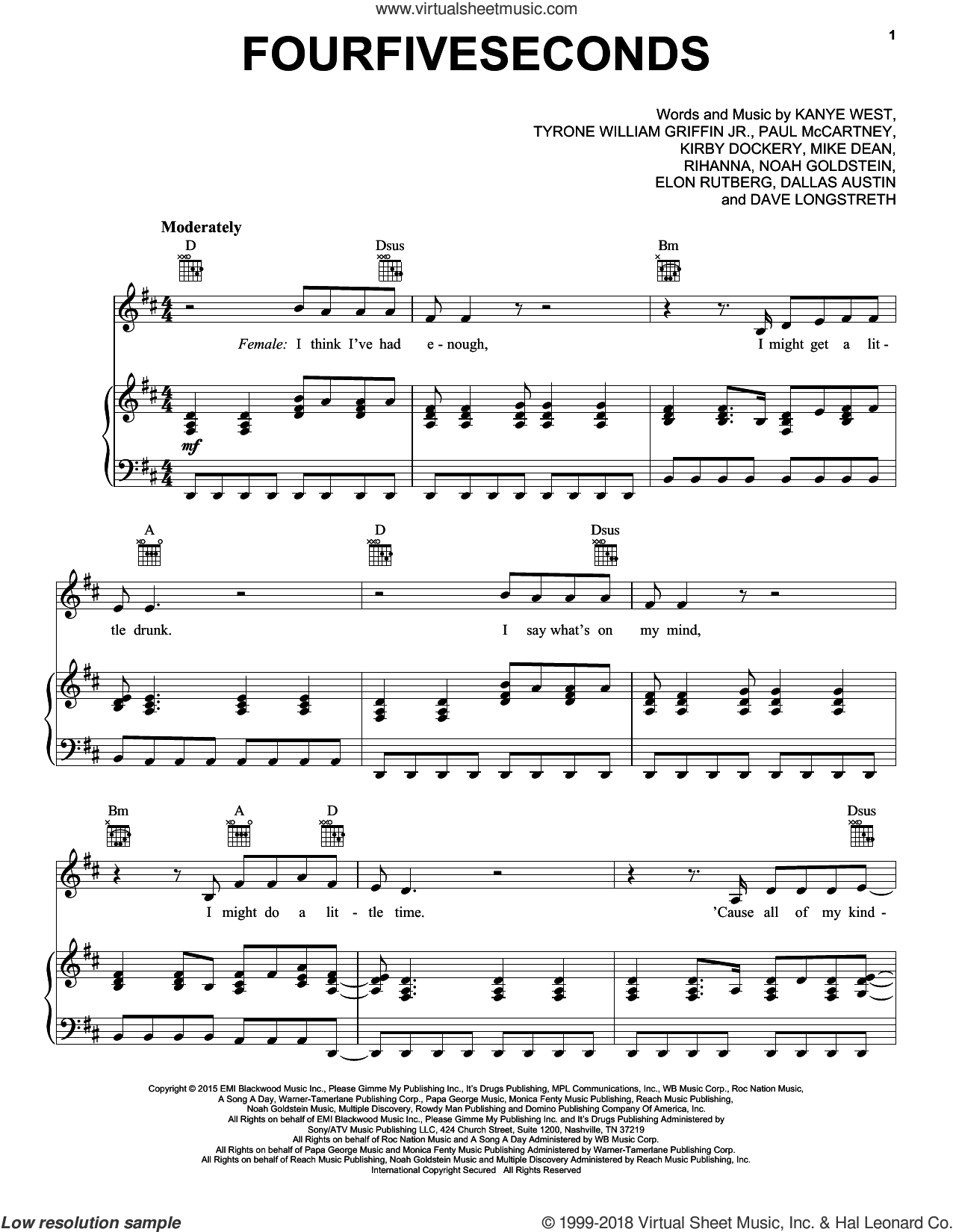 FourFiveSeconds sheet music for voice, piano or guitar by Rihanna & Kanye West & Paul McCartney, Rihanna, Dallas Austin, Dave Longstreth, Elon Rutberg, Kanye West, Kirby Lauryen, Mike Dean, Noah Goldstein, Paul McCartney and Tyrone William Griffin Jr., intermediate skill level