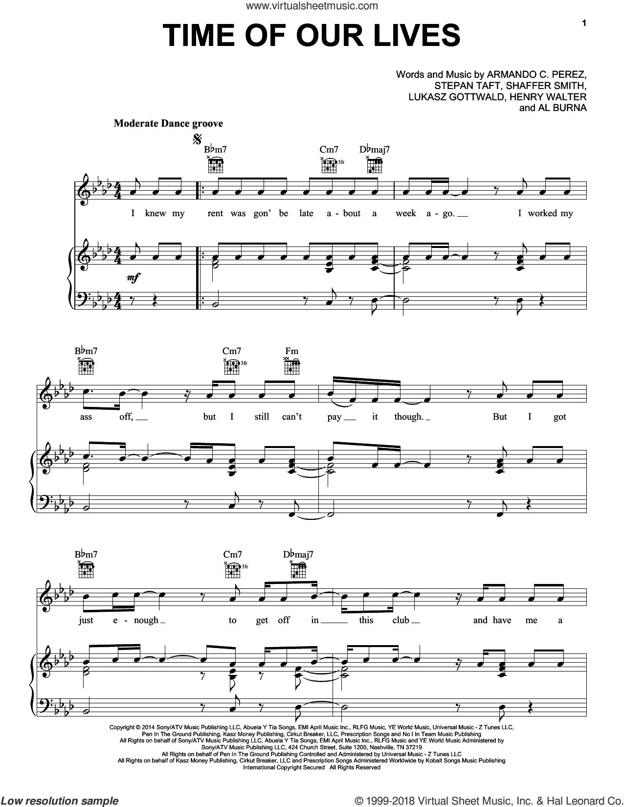 Time Of Our Lives sheet music for voice, piano or guitar by Pitbull & Ne-Yo, Ne-Yo, Pitbull, Al Burna, Armando C. Perez, Henry Walter, Lukasz Gottwald, Shaffer Smith and Stepan Taft, intermediate skill level