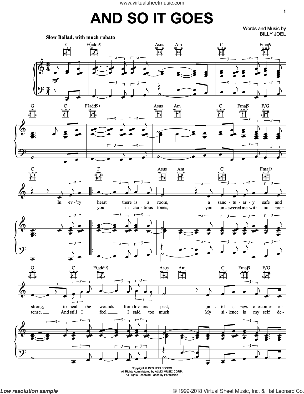 And So It Goes sheet music for voice, piano or guitar by Billy Joel, wedding score, intermediate