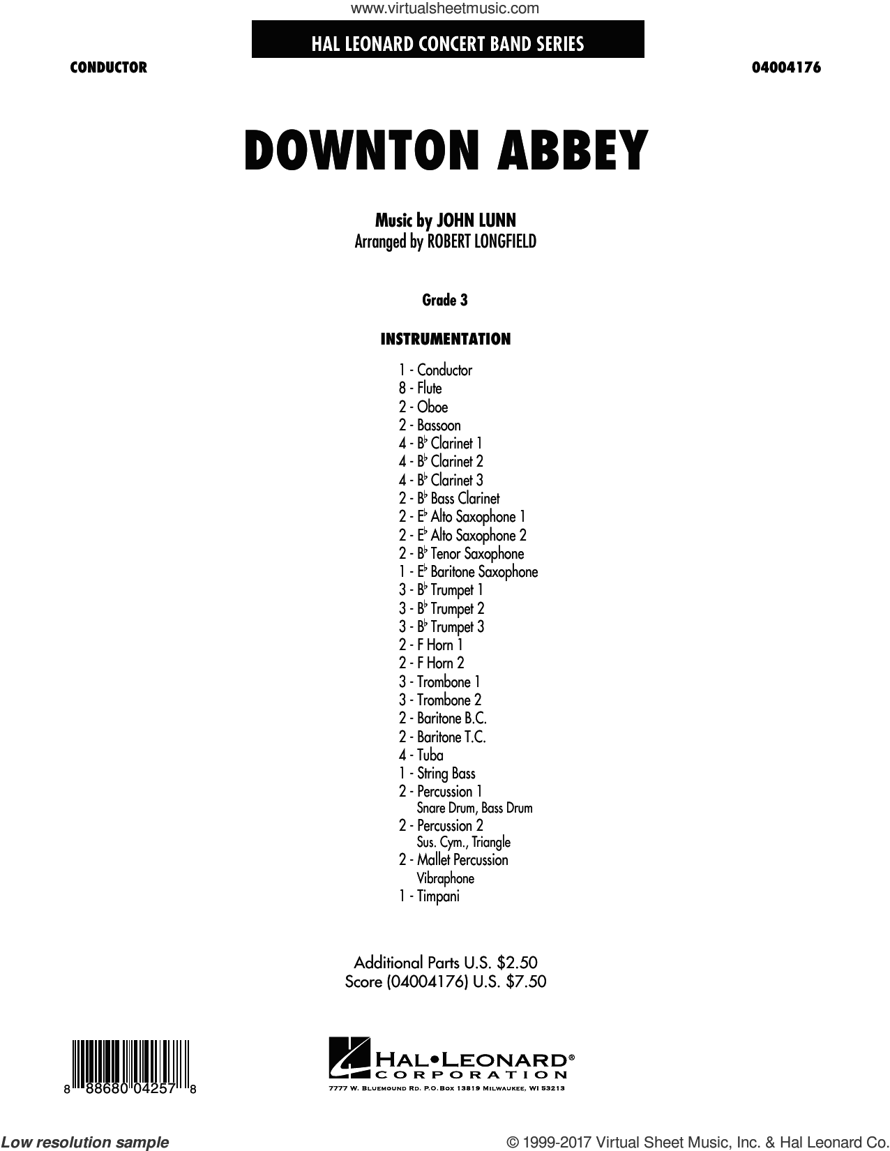 Downton Abbey (COMPLETE) sheet music for concert band by Robert Longfield and John Lunn, intermediate. Score Image Preview.