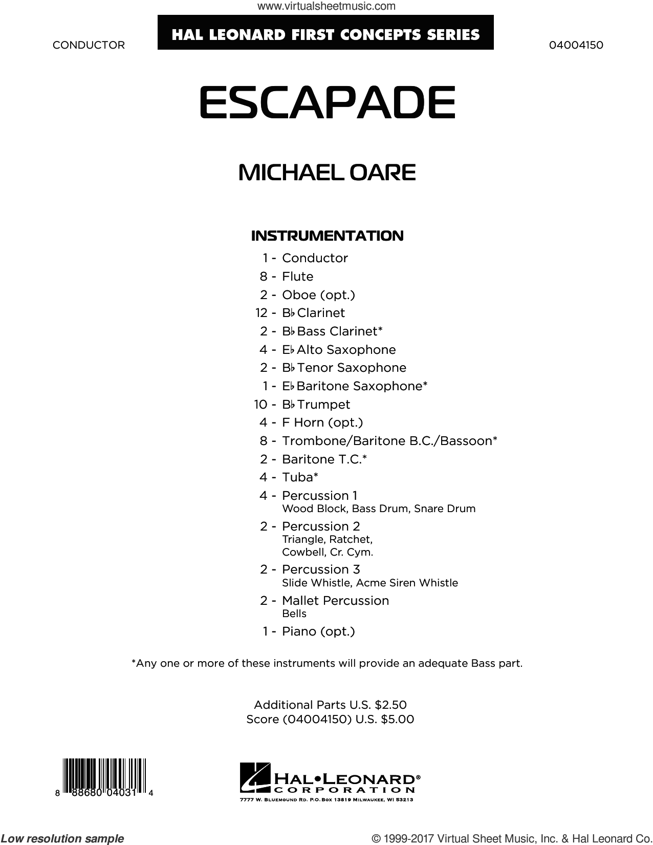 Escapade (COMPLETE) sheet music for concert band by Michael Oare, intermediate. Score Image Preview.