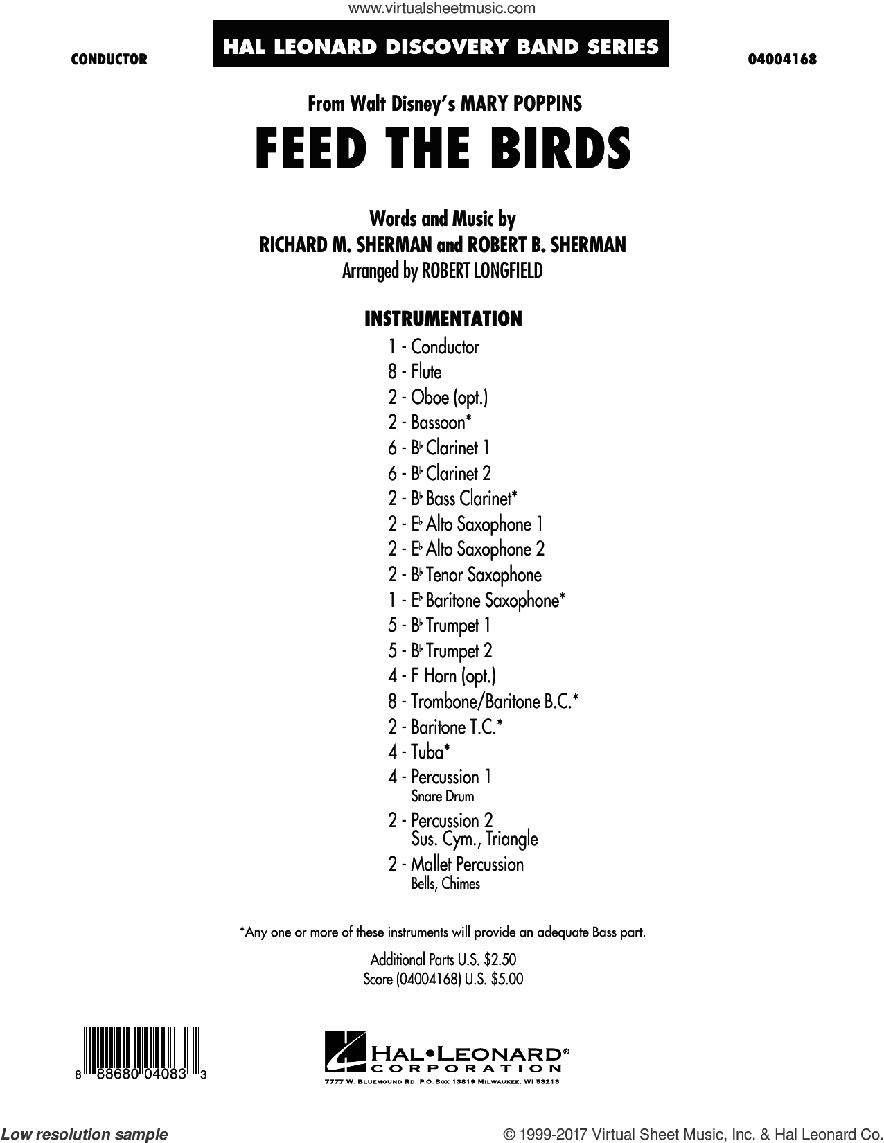 Feed the Birds (from Mary Poppins) (COMPLETE) sheet music for concert band by Richard M. Sherman, Robert B. Sherman and Robert Longfield, intermediate skill level