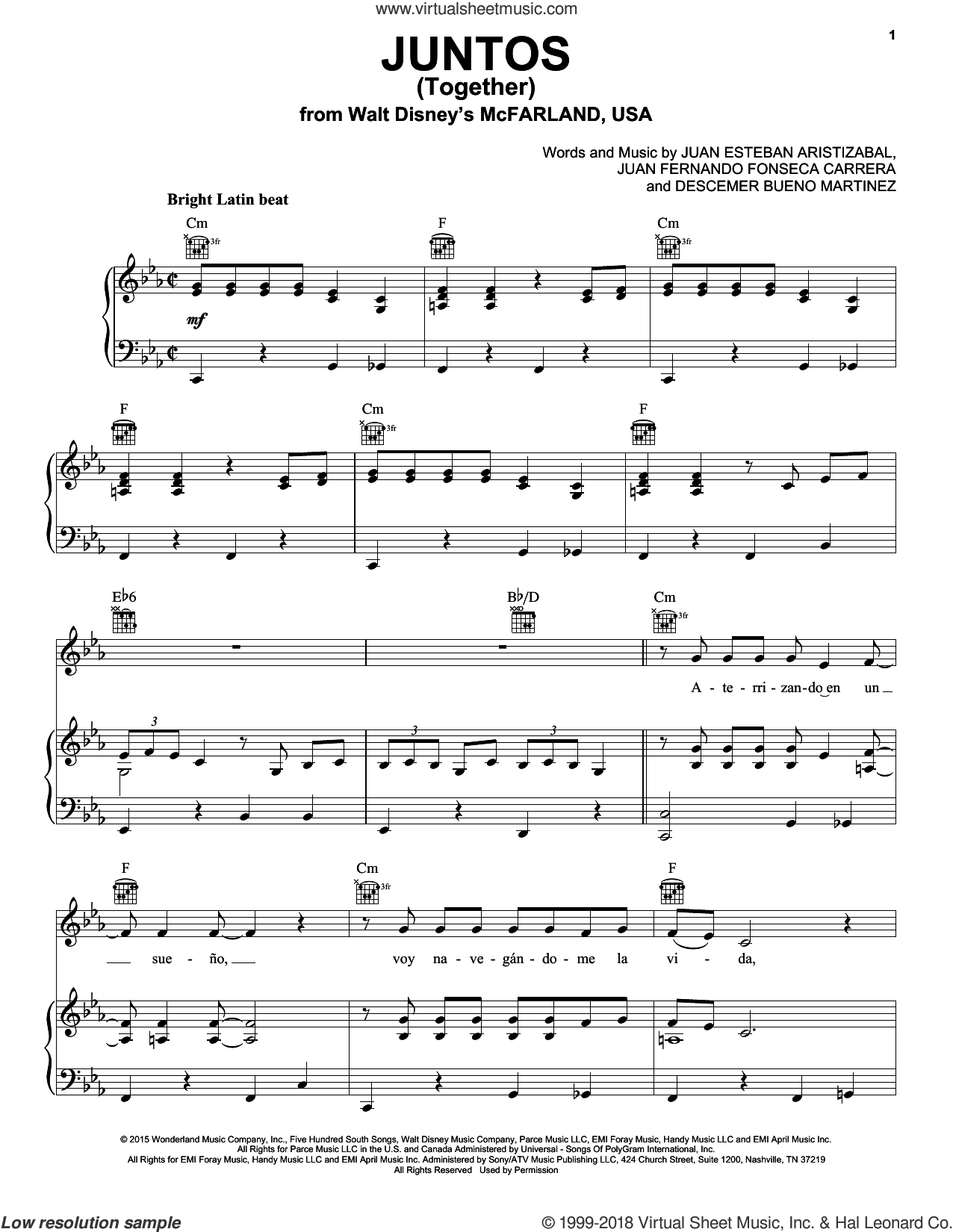 Juntos (Together) sheet music for voice, piano or guitar by Juanes, Descemer Bueno Martinez, Juan Esteban Aristizabal and Juan Fernando Fonseca Carrera, intermediate