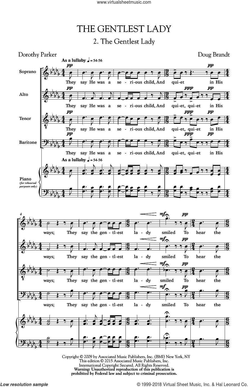The Gentlest Lady sheet music for choir (SATB) by Doug Brandt. Score Image Preview.
