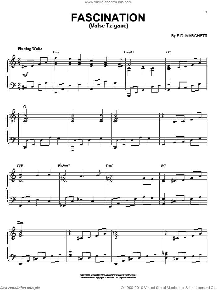 Fascination (Valse Tzigane), (intermediate) sheet music for piano solo by Fermo Dante Marchetti, intermediate skill level