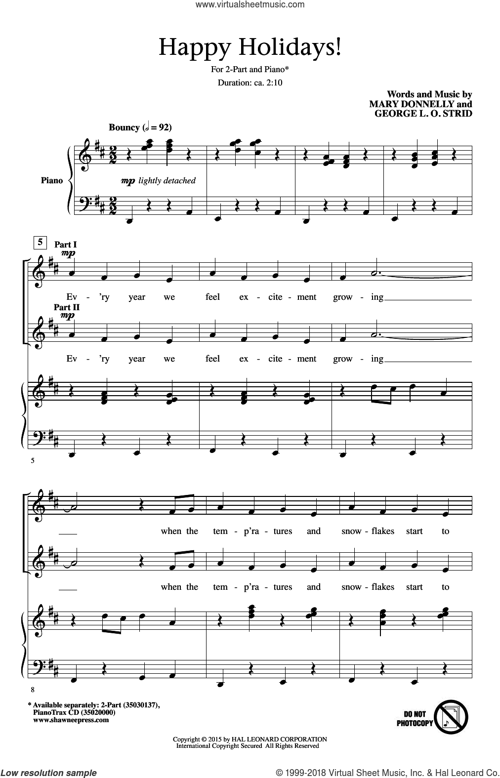 Happy Holidays! sheet music for choir (duets) by George L.O. Strid and Mary Donnelly, Christmas carol score, intermediate duet. Score Image Preview.