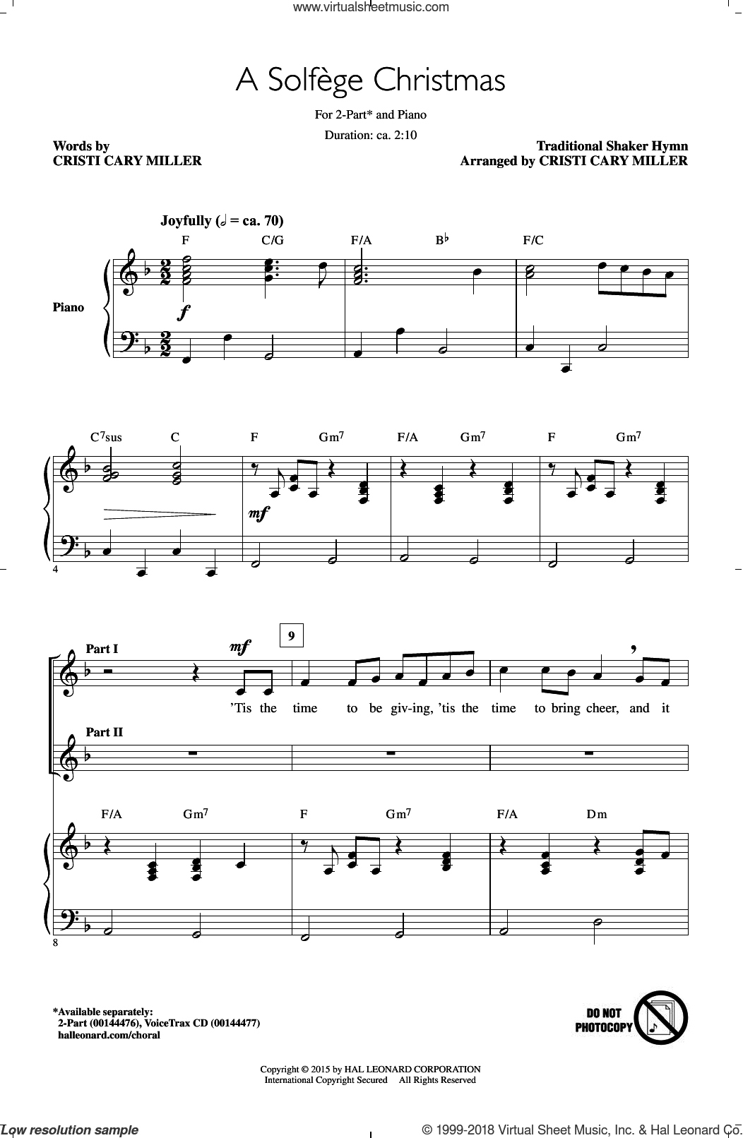 Solfege Christmas sheet music for choir (duets) by Cristi Cary Miller. Score Image Preview.