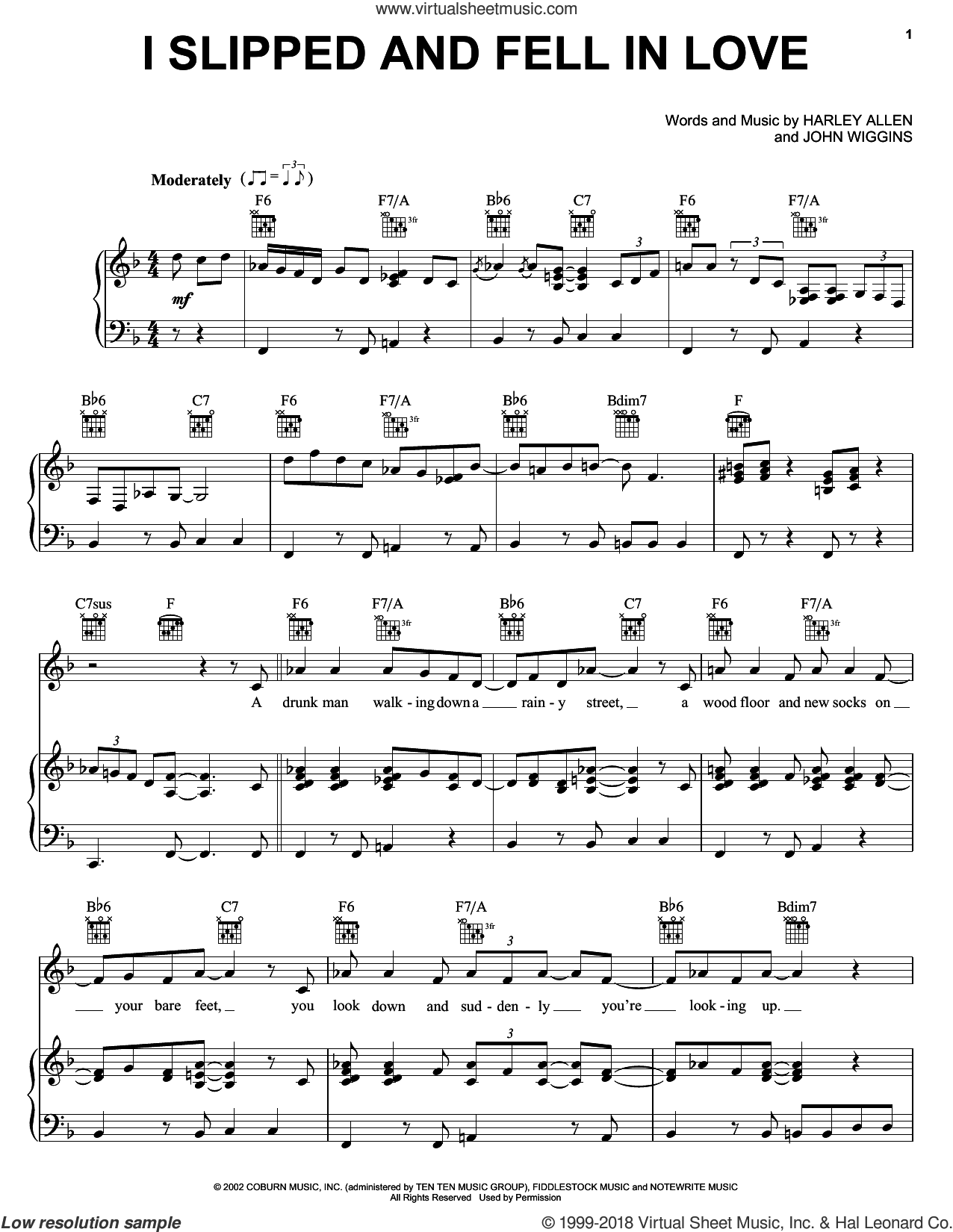 I Slipped And Fell In Love sheet music for voice, piano or guitar by Alan Jackson, Harley Allen and John Wiggins, intermediate skill level