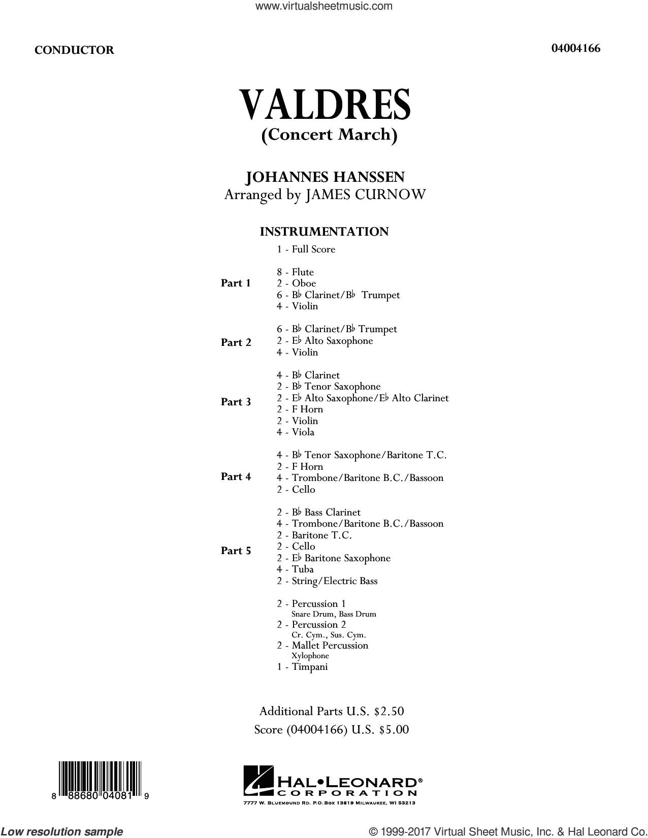 Valdres (Concert March) (COMPLETE) sheet music for concert band by James Curnow and Johannes Hanssen, intermediate skill level