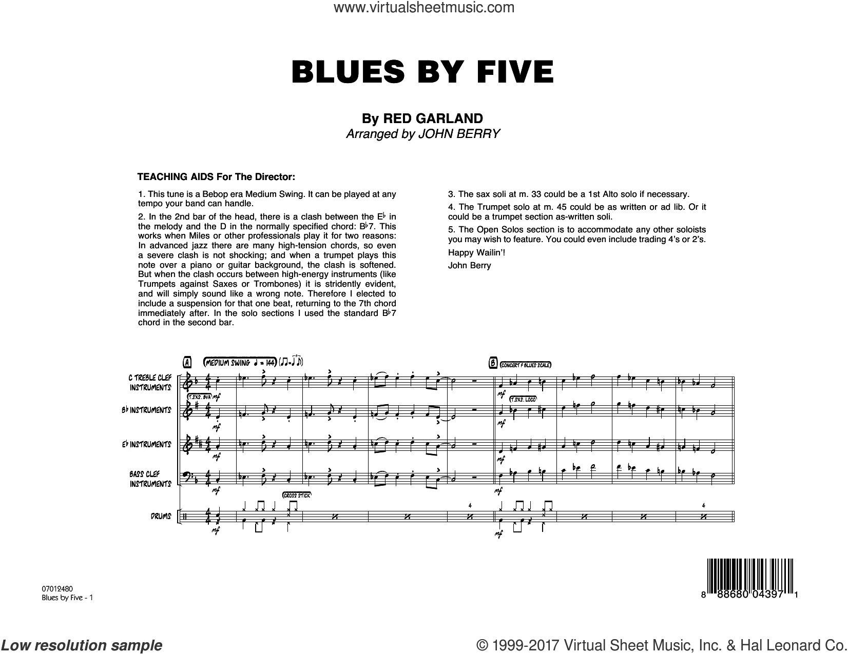 Blues by Five (COMPLETE) sheet music for jazz band by Miles Davis and John Berry, intermediate jazz band. Score Image Preview.
