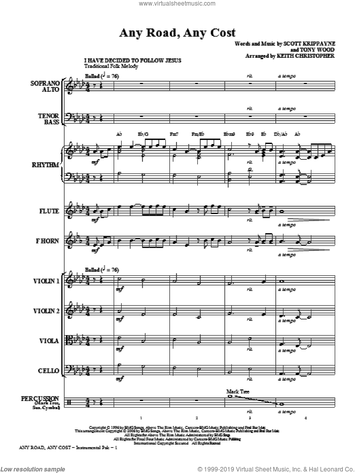 Any Road, Any Cost (complete set of parts) sheet music for orchestra/band (chamber ensemble) by Tony Wood, Scott Krippayne, Keith Christopher and Point Of Grace, intermediate. Score Image Preview.