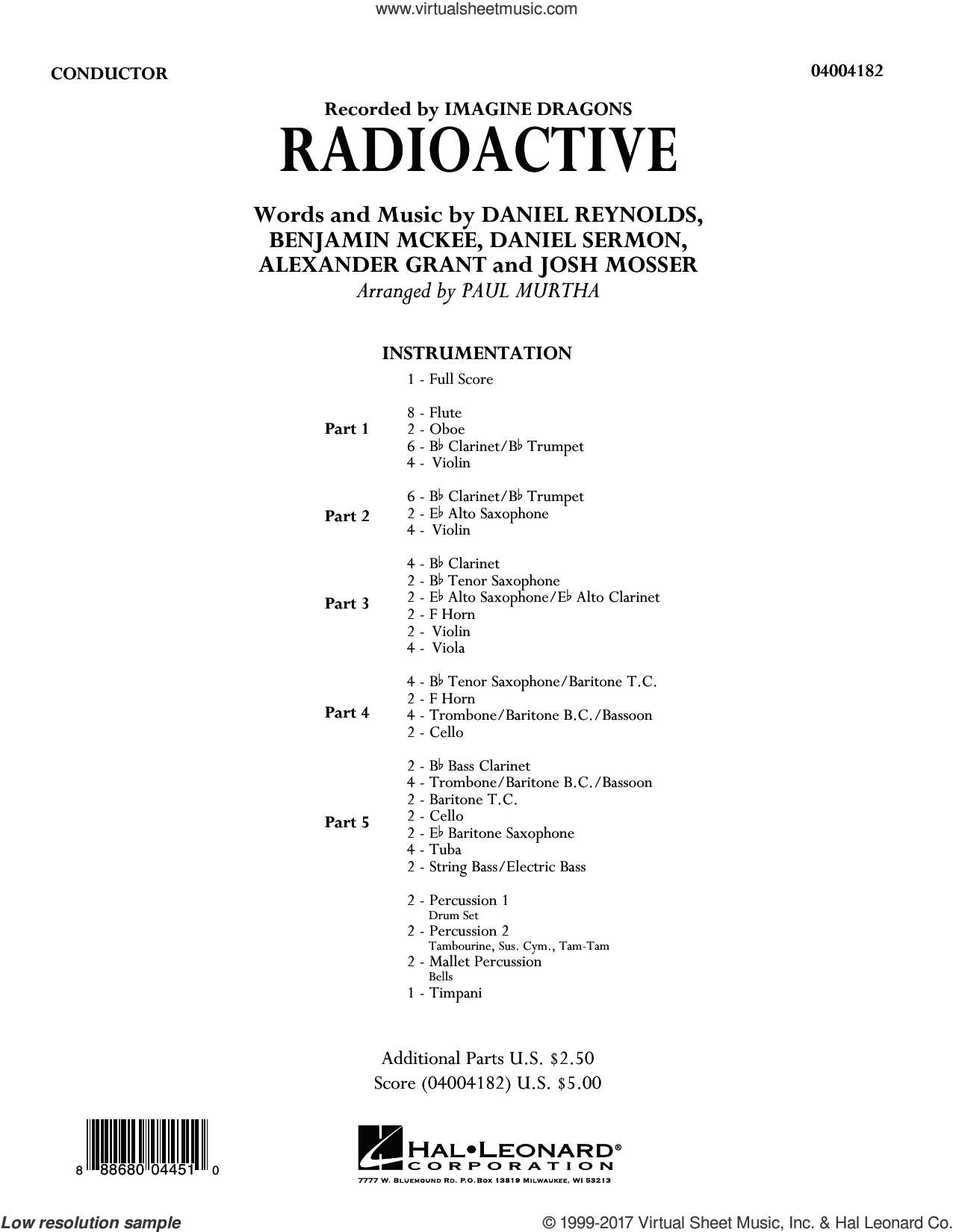 Radioactive (COMPLETE) sheet music for concert band by Paul Murtha, Alexander Grant, Benjamin McKee, Daniel Reynolds, Daniel Sermon, Imagine Dragons and Josh Mosser, intermediate skill level