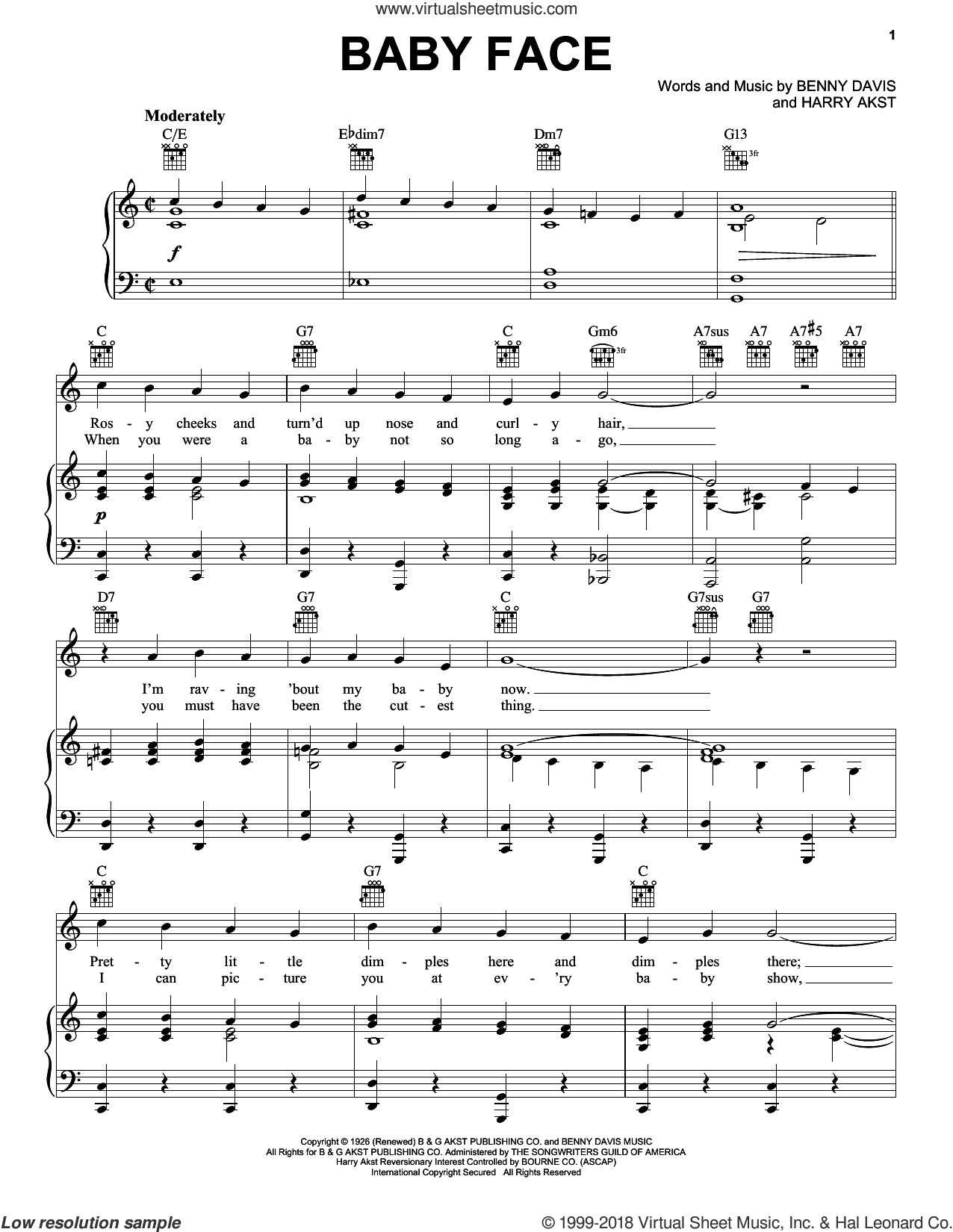 Baby Face sheet music for voice, piano or guitar by Harry Akst, Bobby Darin, Little Richard, Wing & A Prayer Fife & Drum Cp and Benny Davis, intermediate skill level