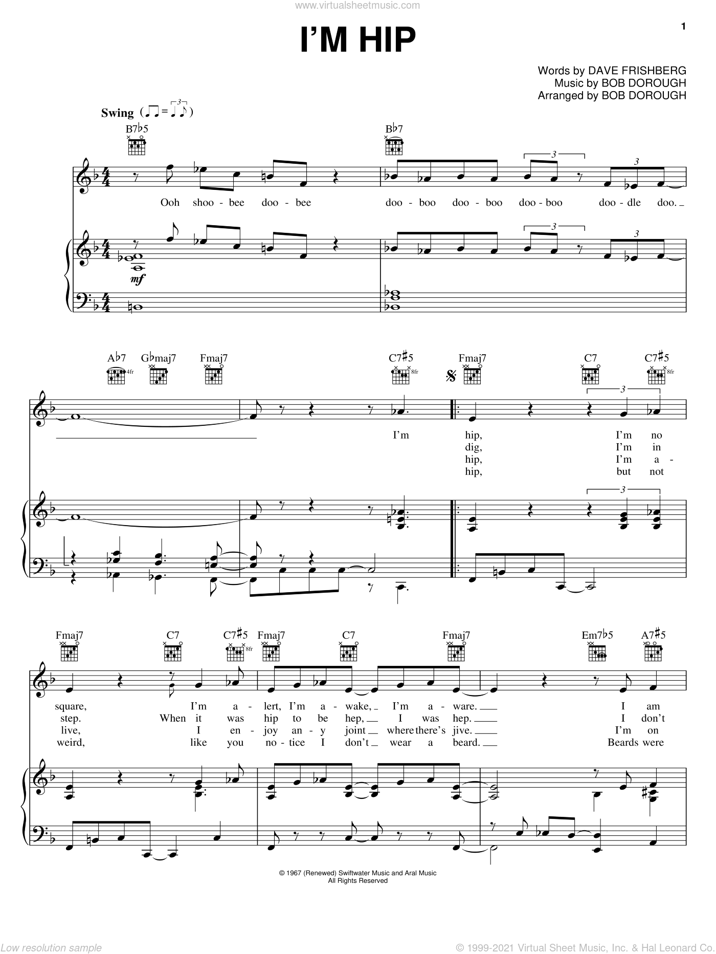 I'm Hip sheet music for voice, piano or guitar by Dave Frishberg and Bob Dorough. Score Image Preview.