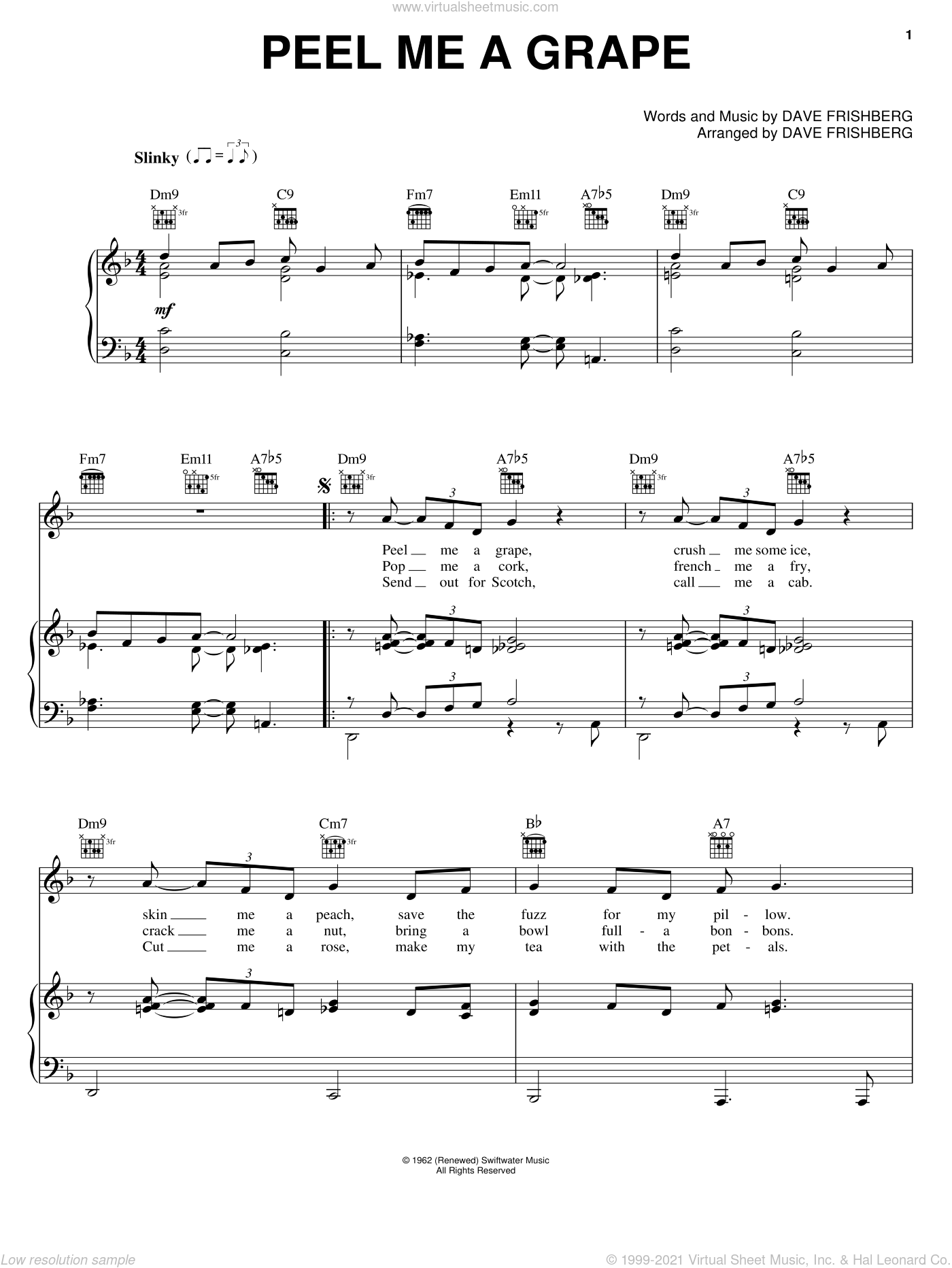 Peel Me A Grape sheet music for voice, piano or guitar by Dave Frishberg and Diana Krall, intermediate skill level