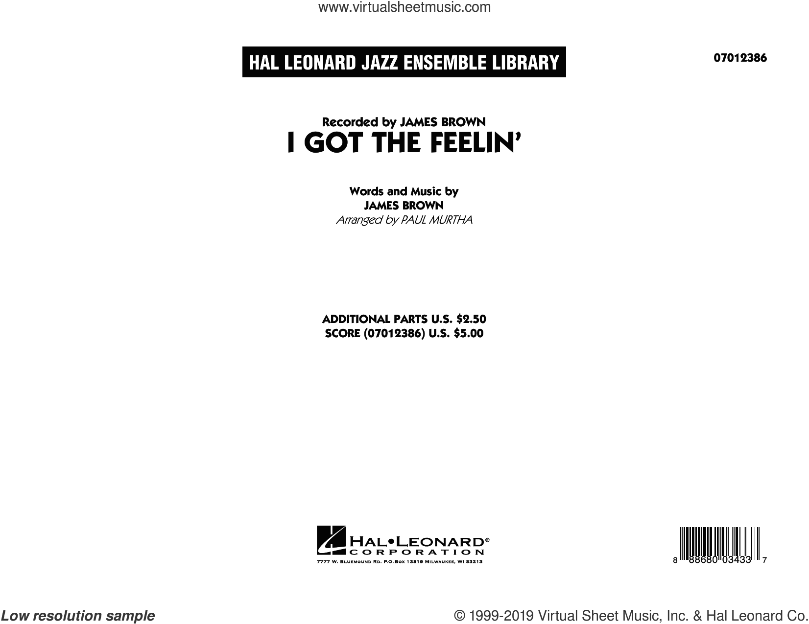 I Got The Feelin' (COMPLETE) sheet music for jazz band by Paul Murtha and James Brown, intermediate skill level