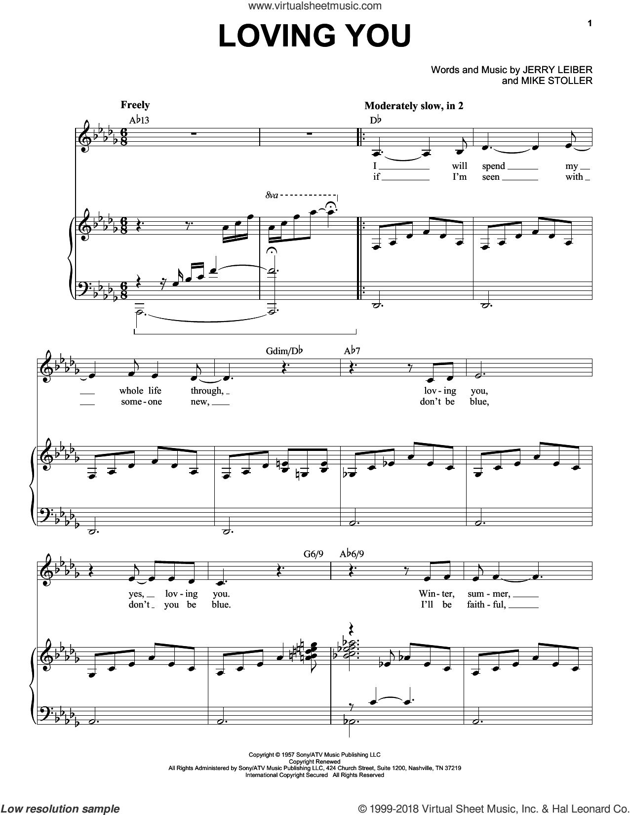 Loving You sheet music for voice and piano by Elvis Presley, Jerry Leiber and Mike Stoller, intermediate skill level