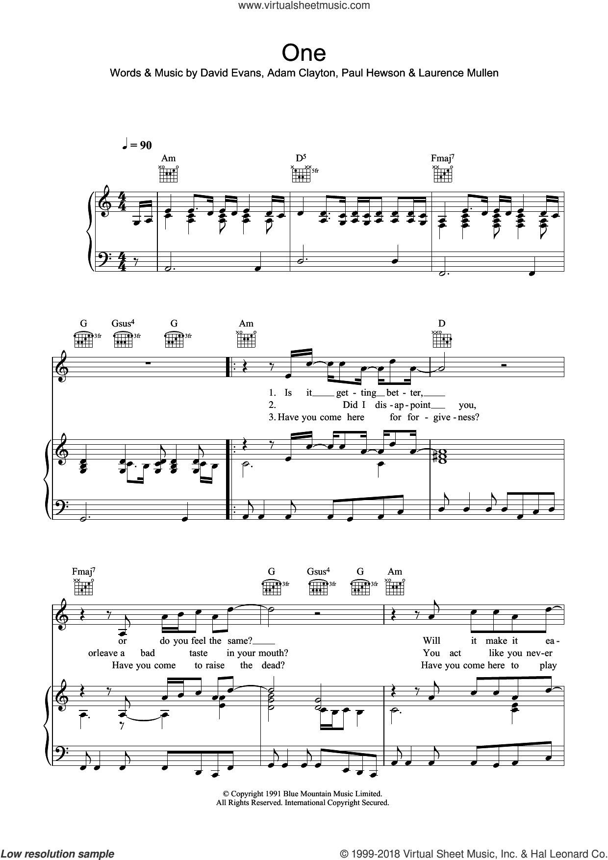 One sheet music for voice, piano or guitar by Paul Hewson