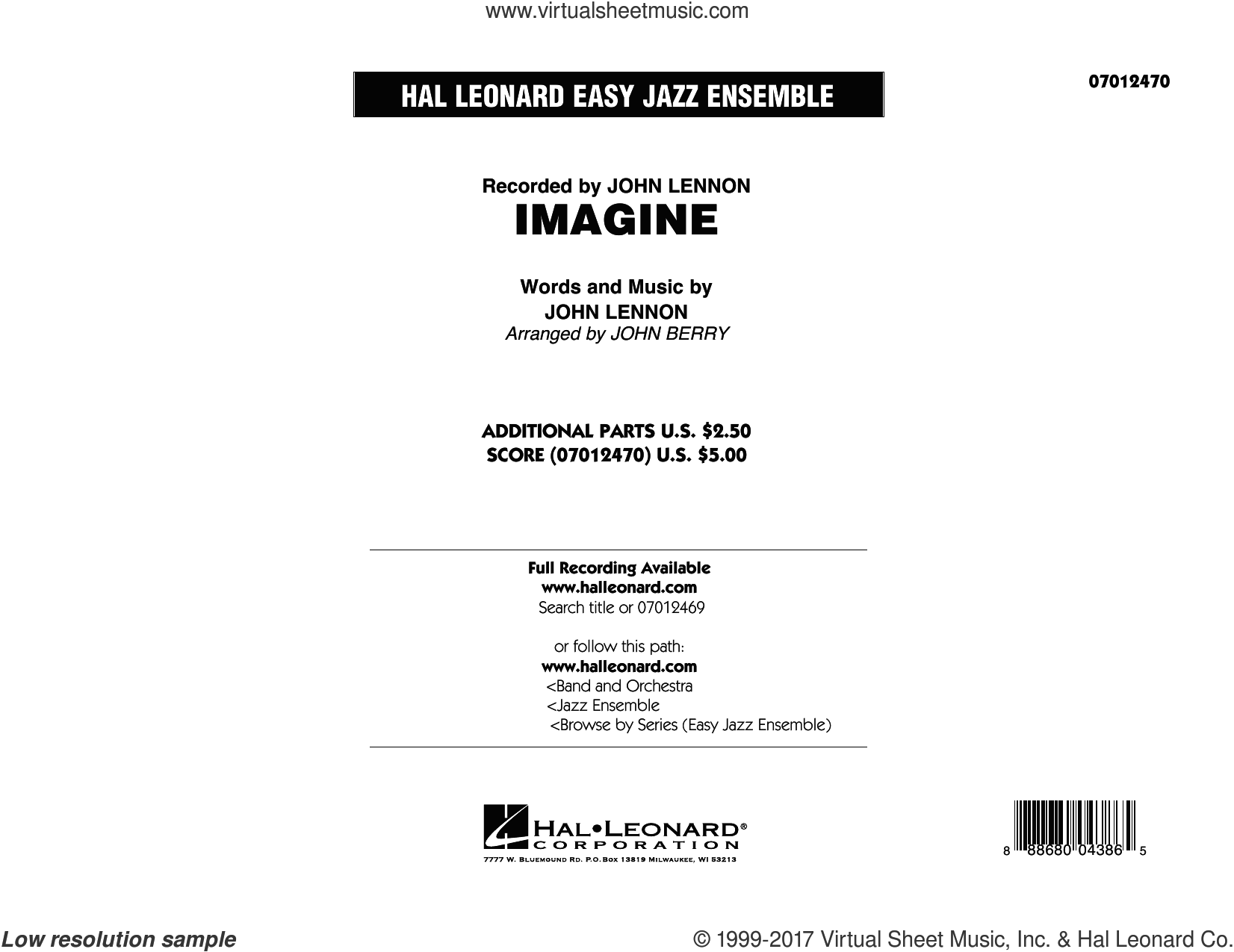 Imagine (COMPLETE) sheet music for jazz band by John Lennon, David Archuleta, John Berry and John Lennon and the Plastic Ono Band, intermediate skill level