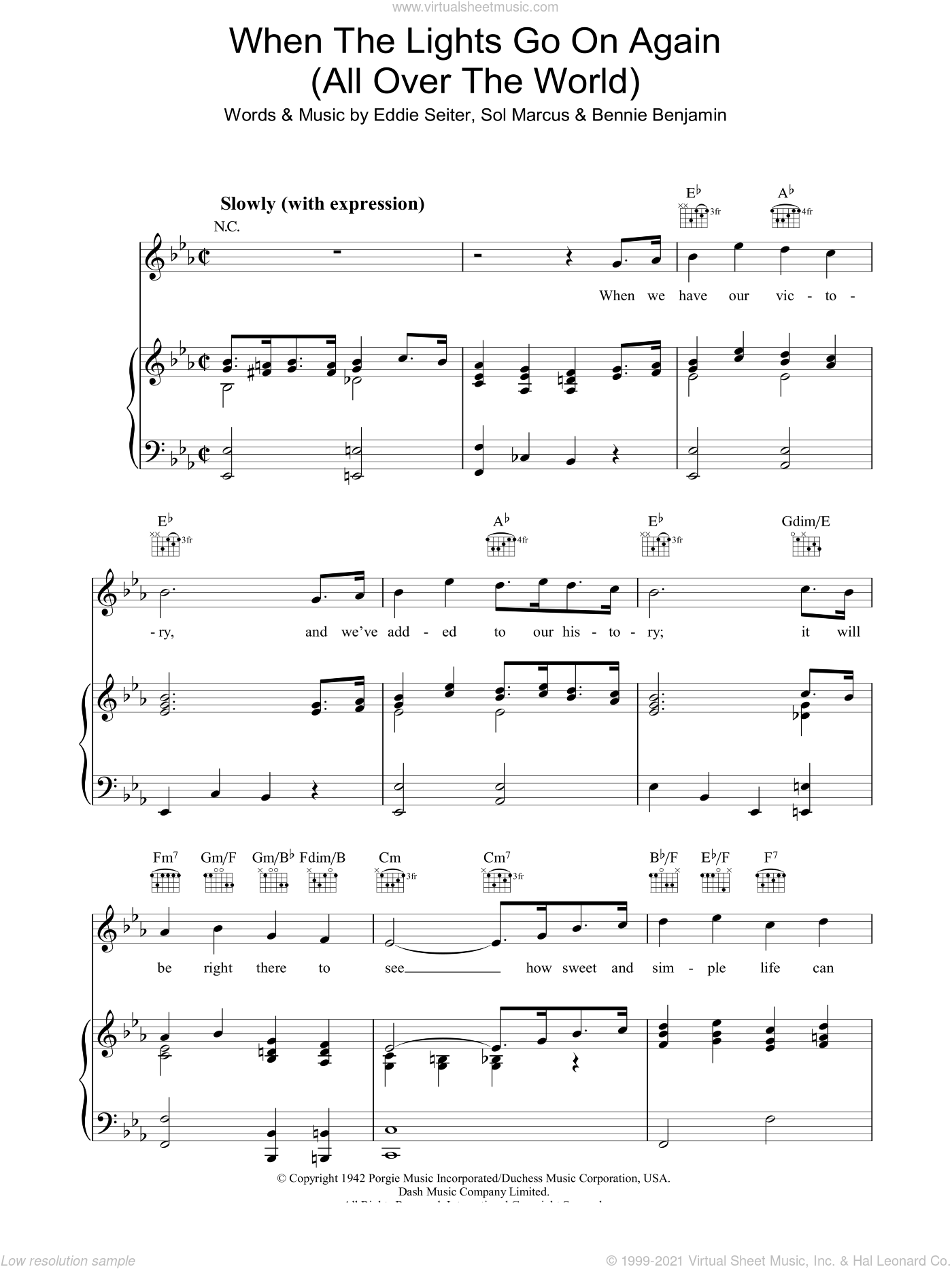 When The Lights Go On Again (All Over The World) sheet music for voice, piano or guitar by Sol Marcus, Bennie Benjamin and Eddie Seiler. Score Image Preview.