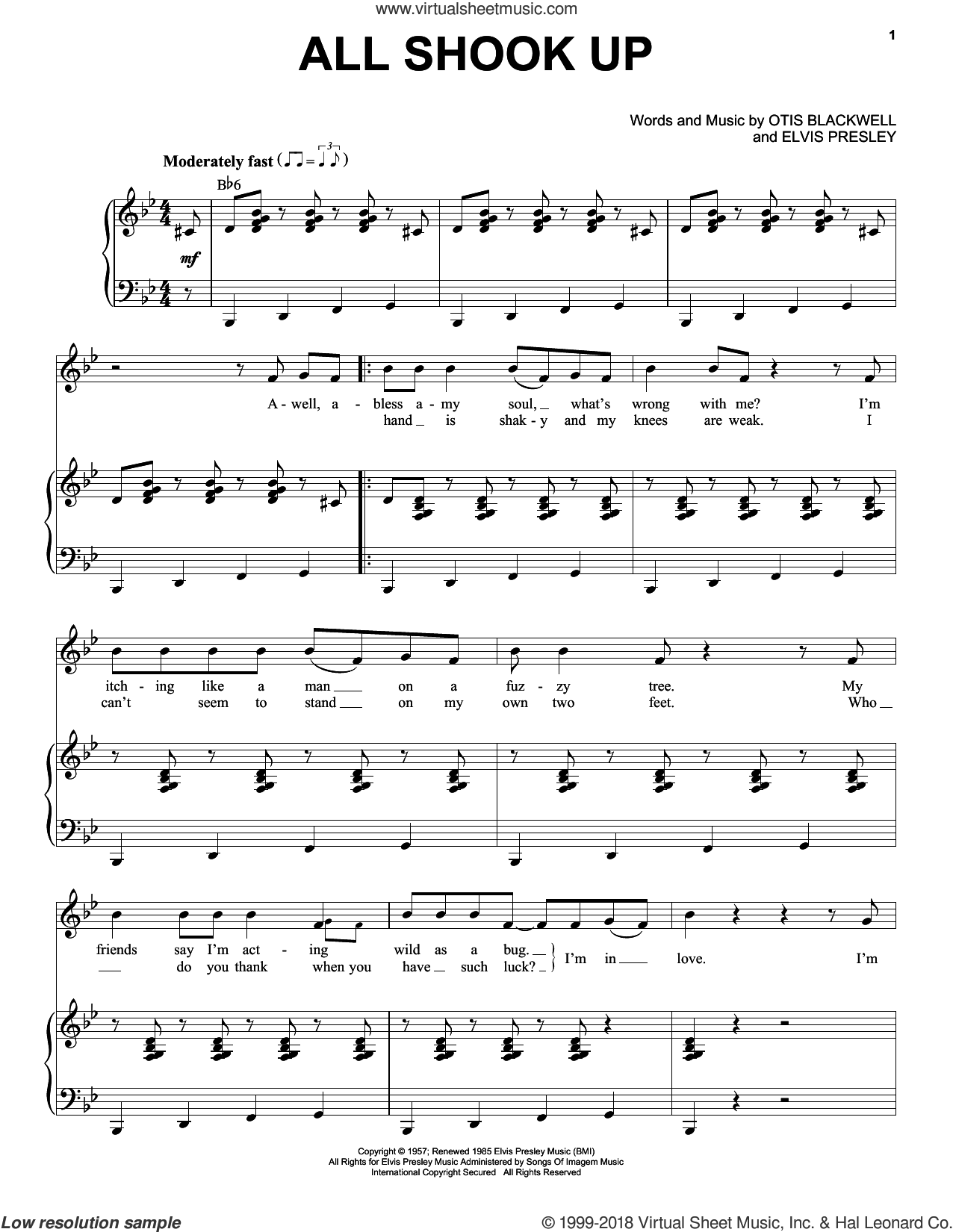 All Shook Up sheet music for voice and piano by Elvis Presley, Suzi Quatro and Otis Blackwell, intermediate skill level