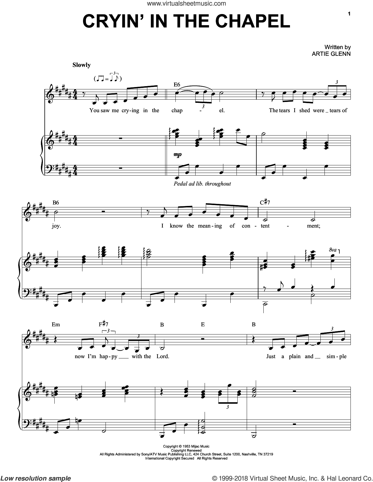 Cryin' In The Chapel sheet music for voice and piano by Elvis Presley and Artie Glenn, intermediate skill level
