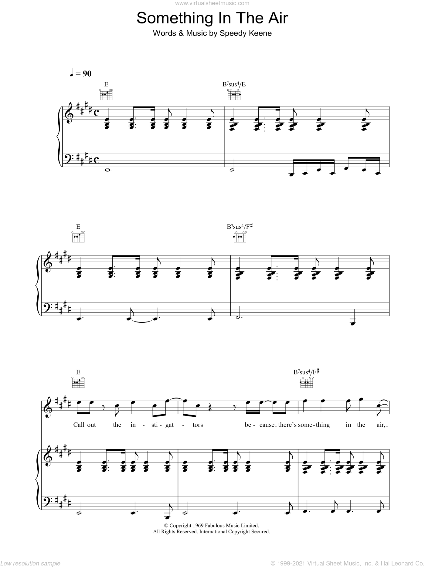 Something In The Air sheet music for voice, piano or guitar by John Keene