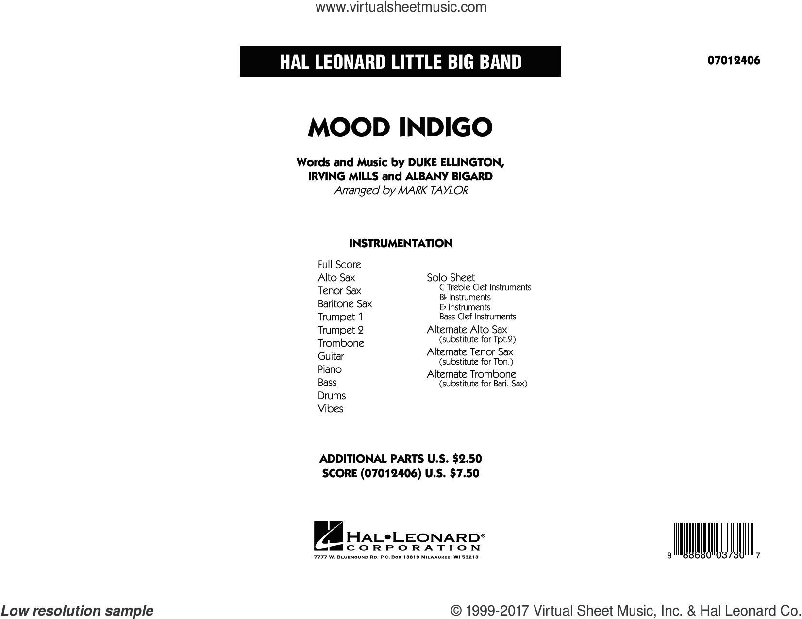 Mood Indigo, complete collection (COMPLETE) sheet music for jazz band by Duke Ellington, Albany Bigard, Irving Mills and Mark Taylor, intermediate skill level