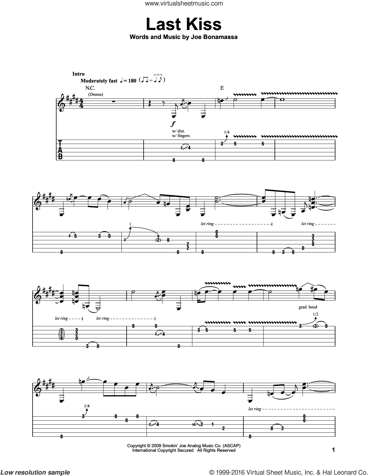 Last Kiss sheet music for guitar (tablature, play-along) by Joe Bonamassa, intermediate. Score Image Preview.