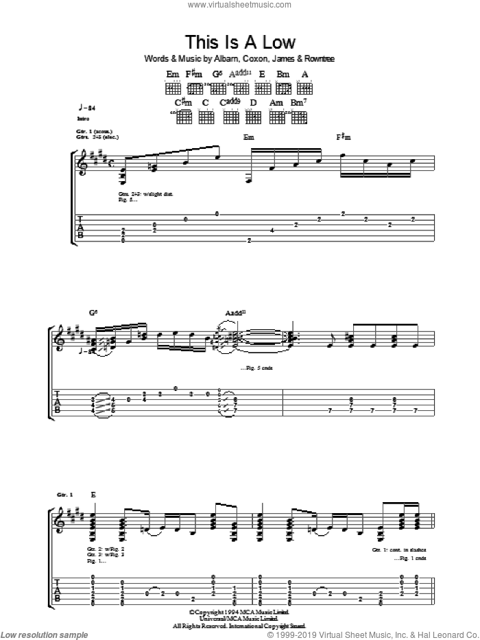 This Is A Low sheet music for guitar (tablature) by Blur, Alex James and Damon Albarn, intermediate. Score Image Preview.