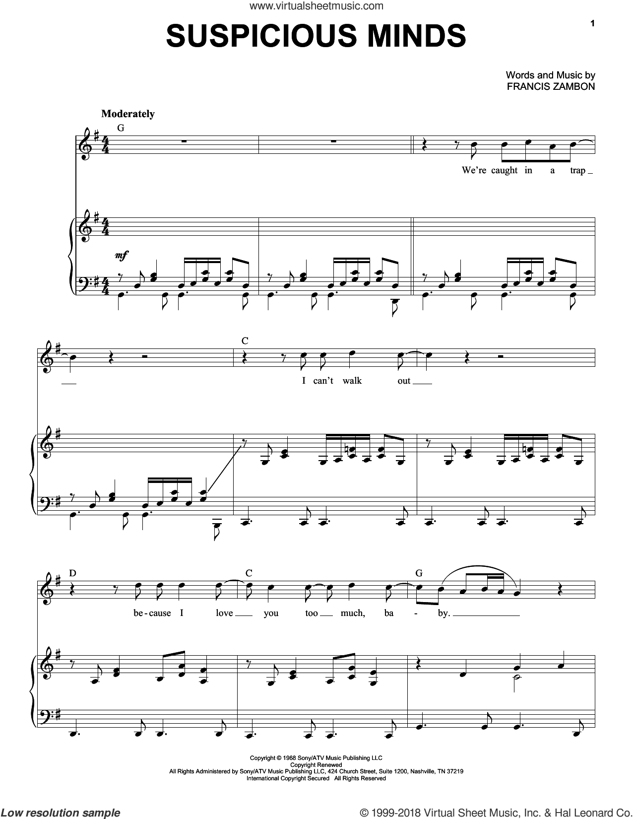 Suspicious Minds sheet music for voice and piano by Elvis Presley, Dwight Yoakam and Francis Zambon, intermediate skill level