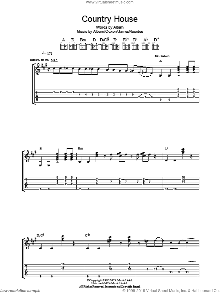 Country House sheet music for guitar (tablature) by Blur, Alex James and Damon Albarn, intermediate. Score Image Preview.