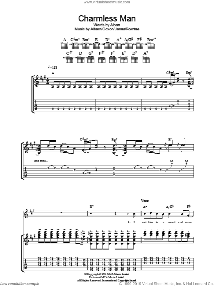 Charmless Man sheet music for guitar (tablature) by Blur, Alex James and Damon Albarn, intermediate guitar (tablature). Score Image Preview.